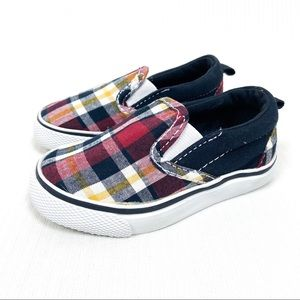 Gymboree Plaid Slip On Sneakers Red Blue Baby 5